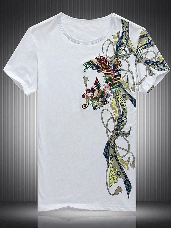Embroidered Printed Round Neck Short Sleeve Men's T-Shirt - WHITE 4XL
