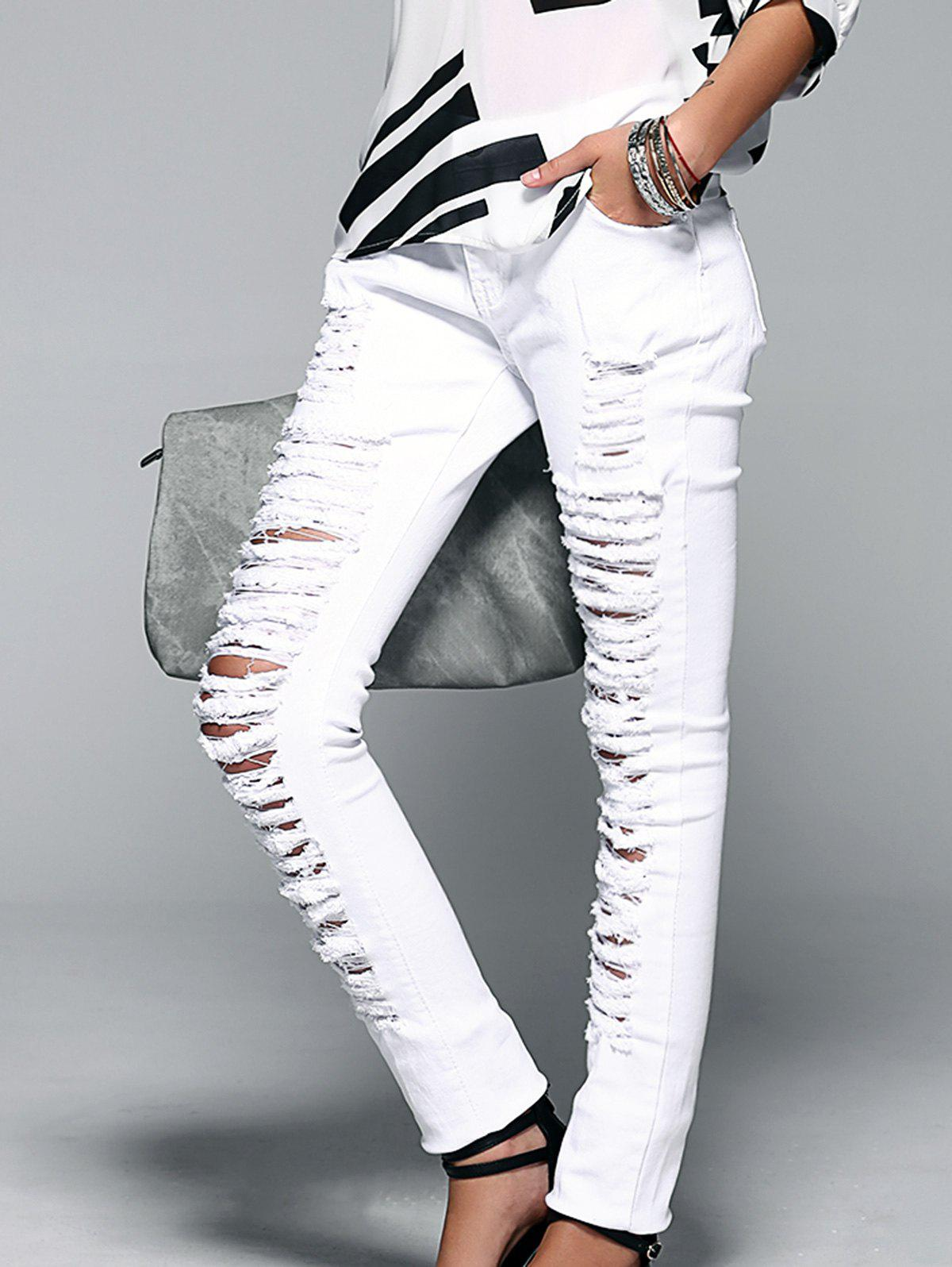 Button Fly Ripped Design Women's Skinny Jeans - WHITE XL