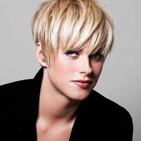Sparkling Short Fluffy Full Bang Light Blonde Synthetic Hair Wig For Women