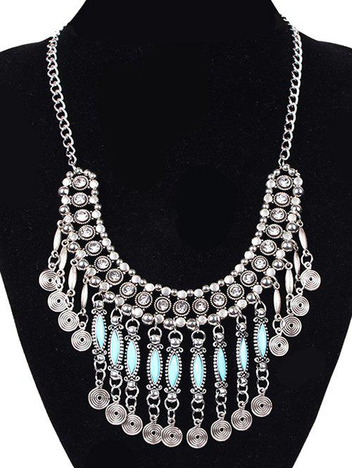 Coin Tassel Fake Gem Necklace - SILVER