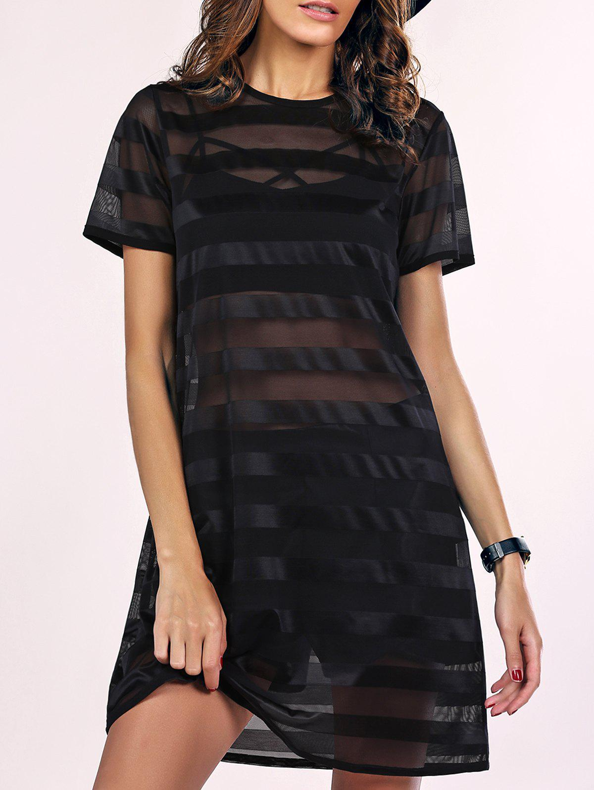 Street Style See-Through Striped Mesh Dress For Women - BLACK XL