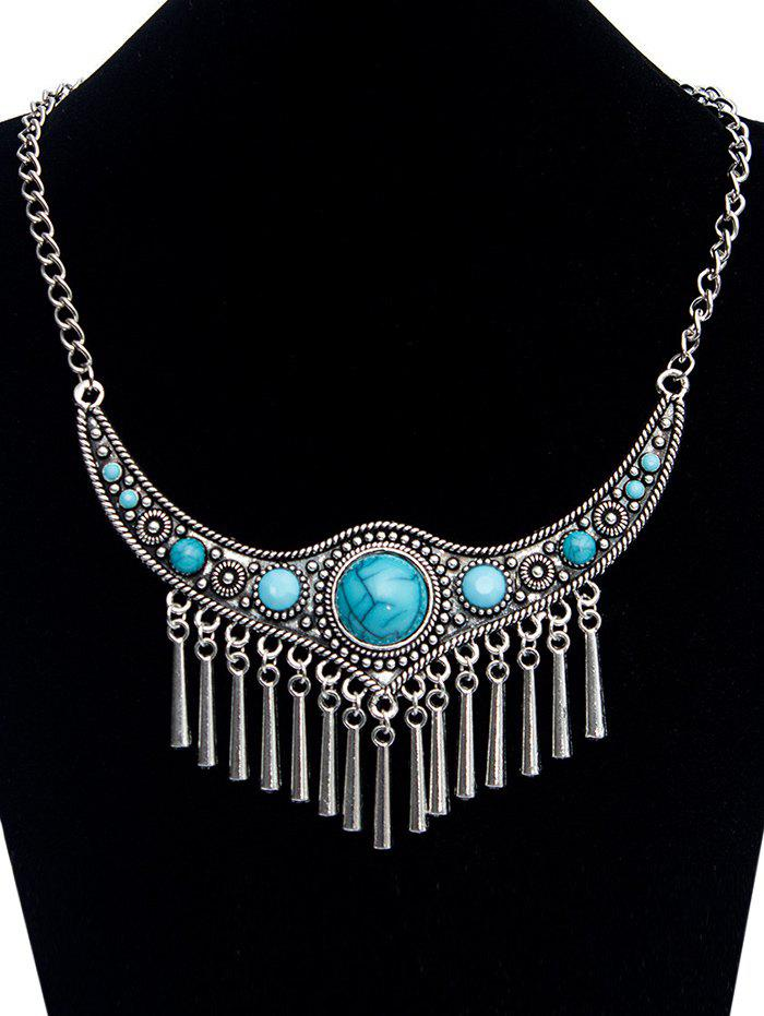 Chic Emboss Faux Turquoise Necklace - SILVER