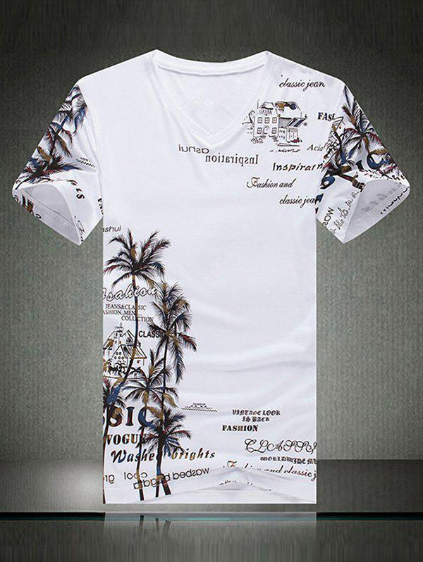 Casual Coconut Palm and Letter Print Short Sleeve T-Shirt For Men - WHITE XL