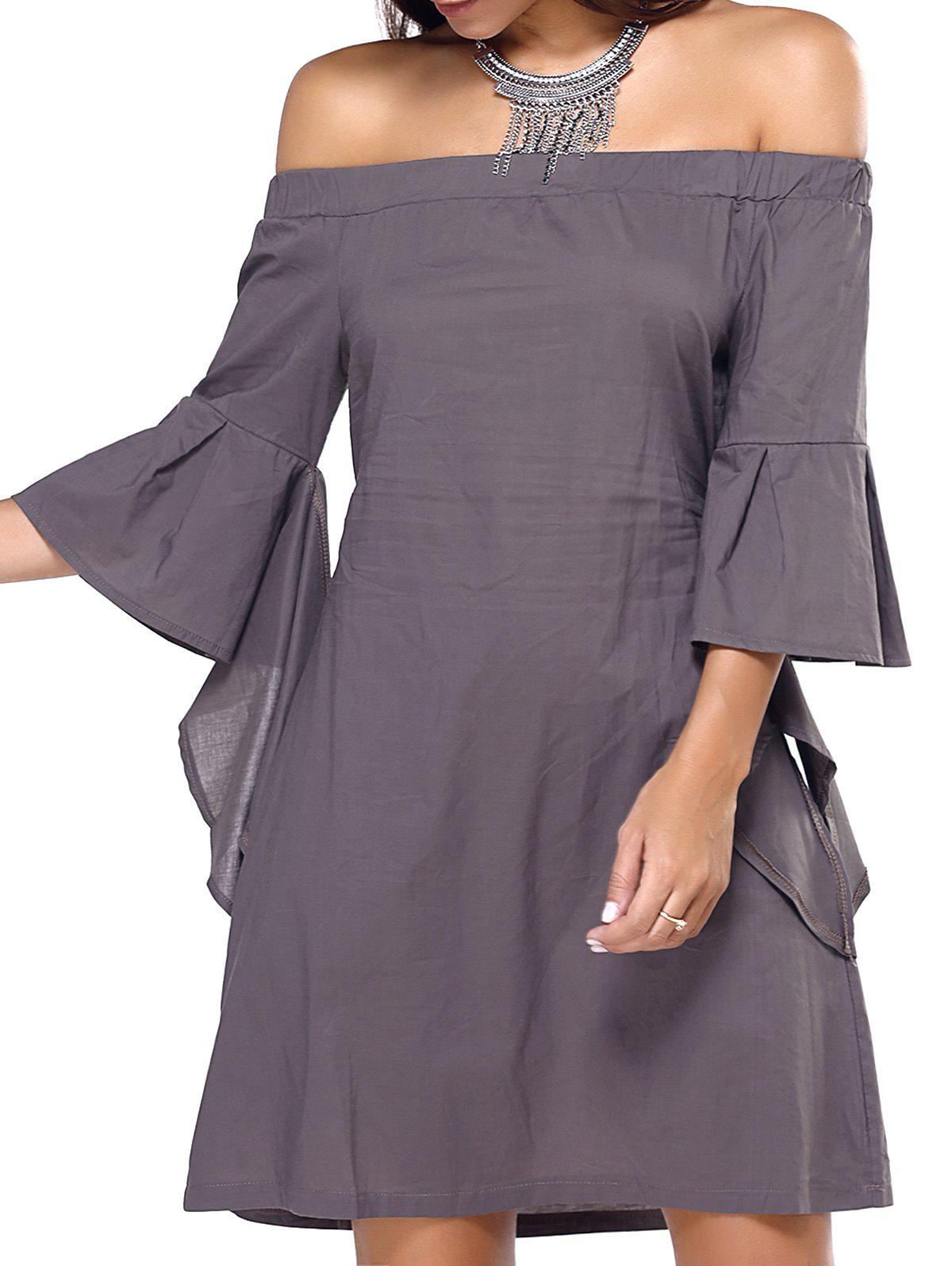 Off The Shoulder Flare Sleeve Dress - TEA COLORED XL