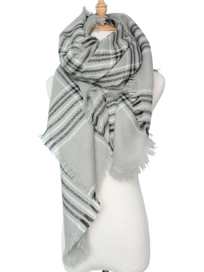 Stylish Plaid Pattern Shawl Scarf - GRAY