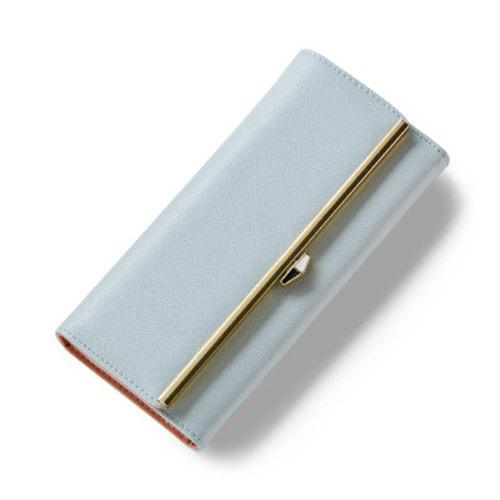 Fashionable Metal and Magnetic Closure Design Women's Wallet - LIGHT BLUE