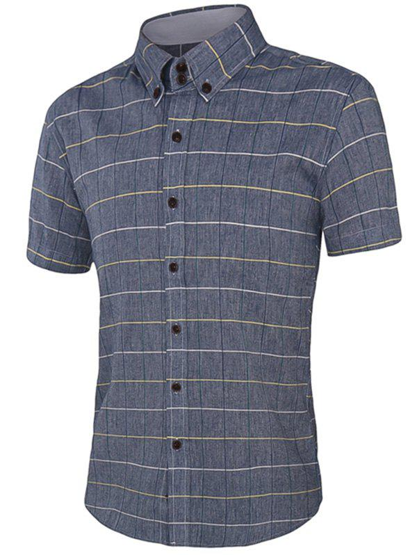 Color Block Plaid Short Sleeves Men's Button-Down Shirt - GRAY 5XL
