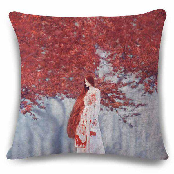 Retro Style 3D Long Hair Girl Painting Red Leaves Pattern Flax Pillow Case - CLARET