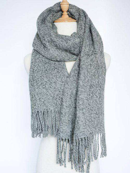 Stylish Tassel Knitted Wrap Scarf - GRAY