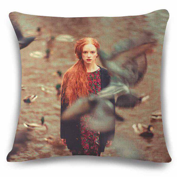 Vintage Style Obscure Goose and Lady Design Photography Flax Pillow Case - LIGHT BROWN