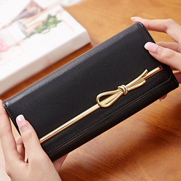 Chic Solid Color and Metal Design Women's Wallet - BLACK