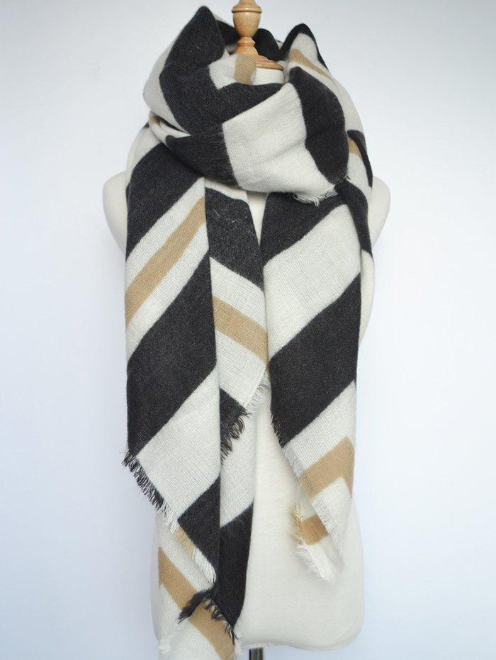 Stylish Stripe Printed Shawl Scarf - WHITE/BLACK