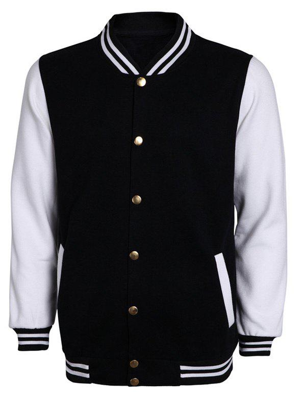 Color Block Stripe Rib Splicing Stand Collar Long Sleeve Men's Jacket 189479009
