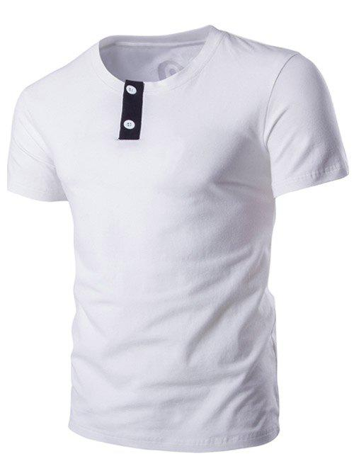 Classic Round Neck Button Design Short Sleeves T-Shirt For Men - L WHITE