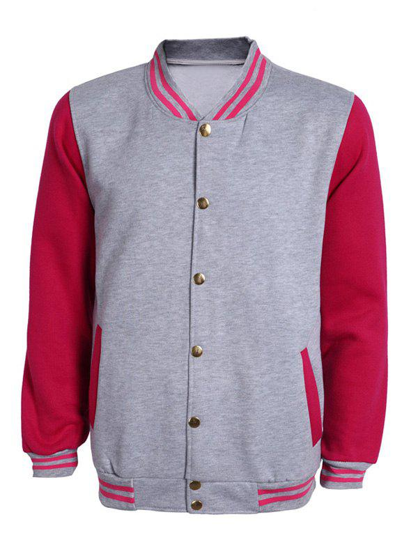 Color Block Striped Rib Splicing Stand Collar Long Sleeve Men's Jacket - RED 3XL