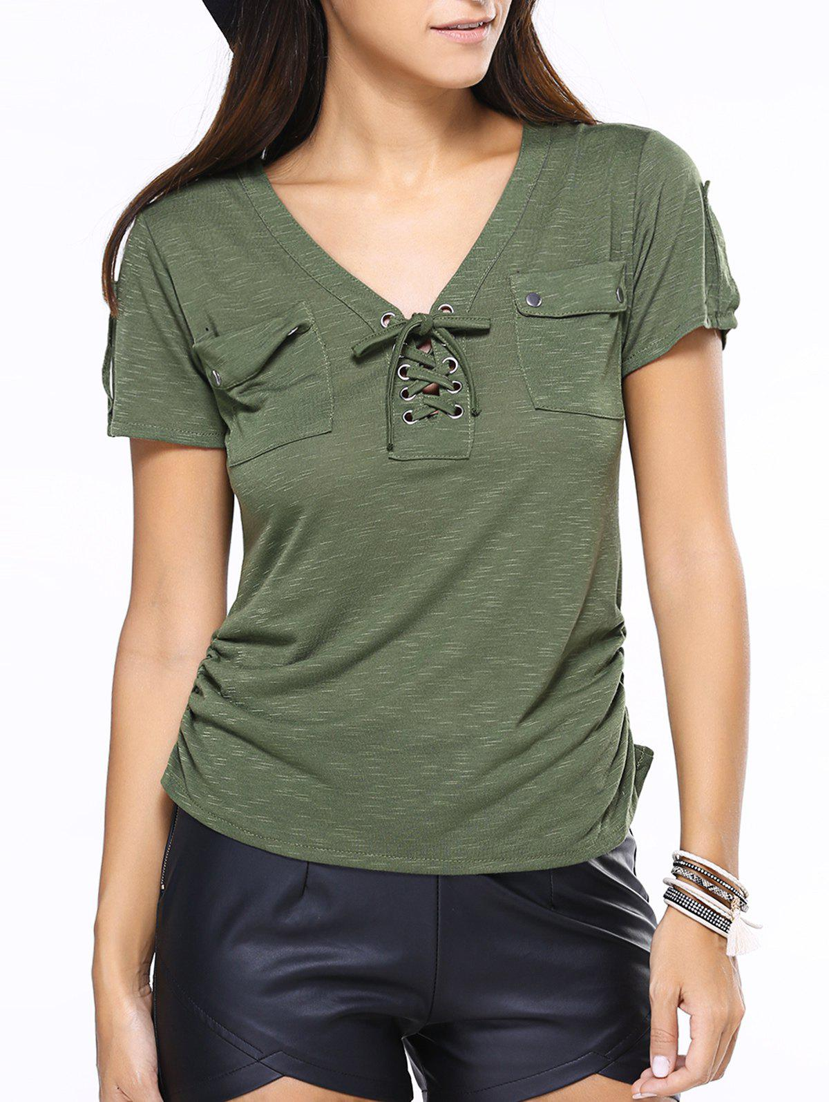 V-Neck Lace-Up Short Sleeve T-Shirt - GREEN XL
