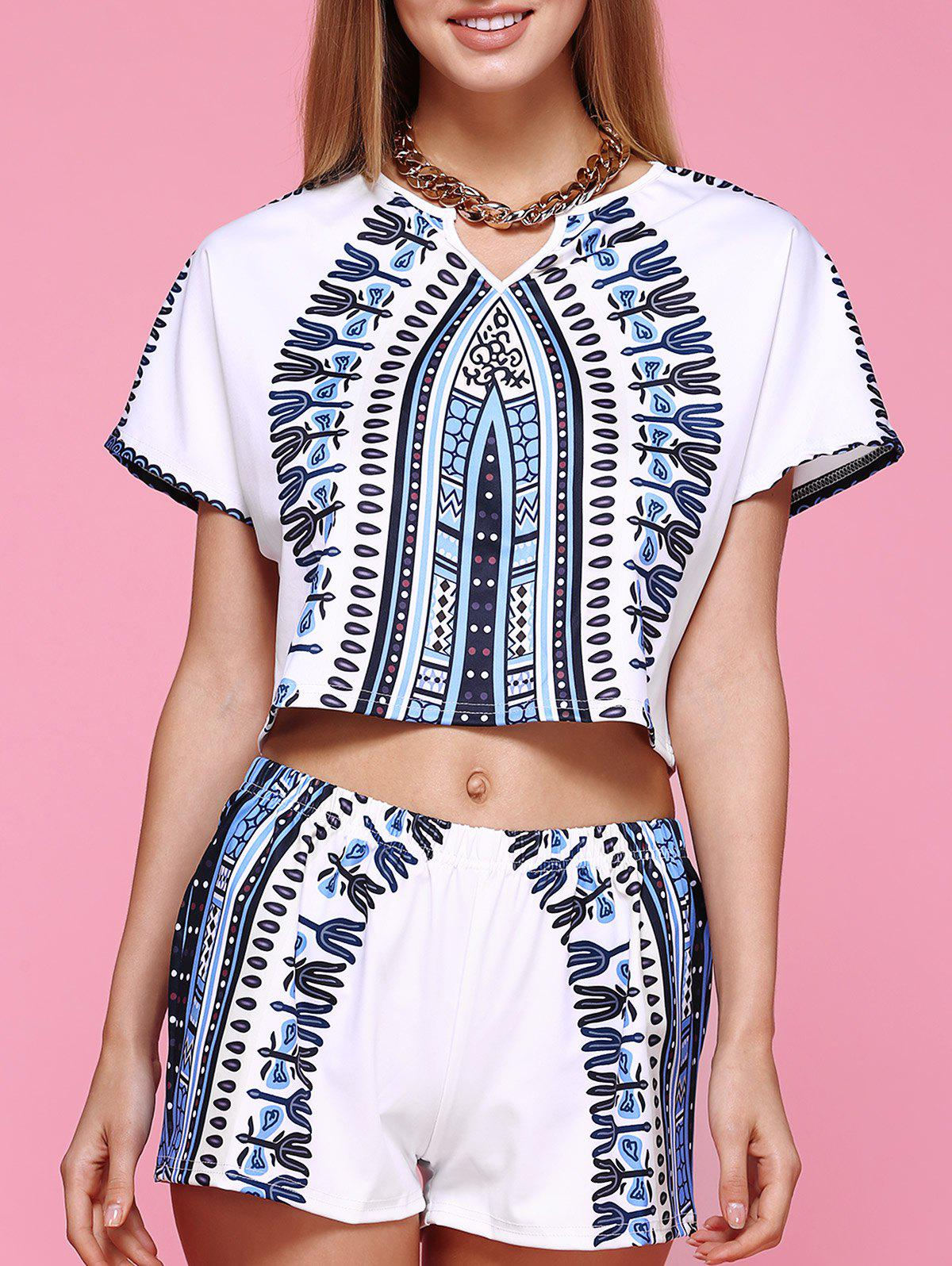 Chic Short Sleeve Printed Crop Top + Elastic Waist Shorts Women's Twinset - WHITE XL
