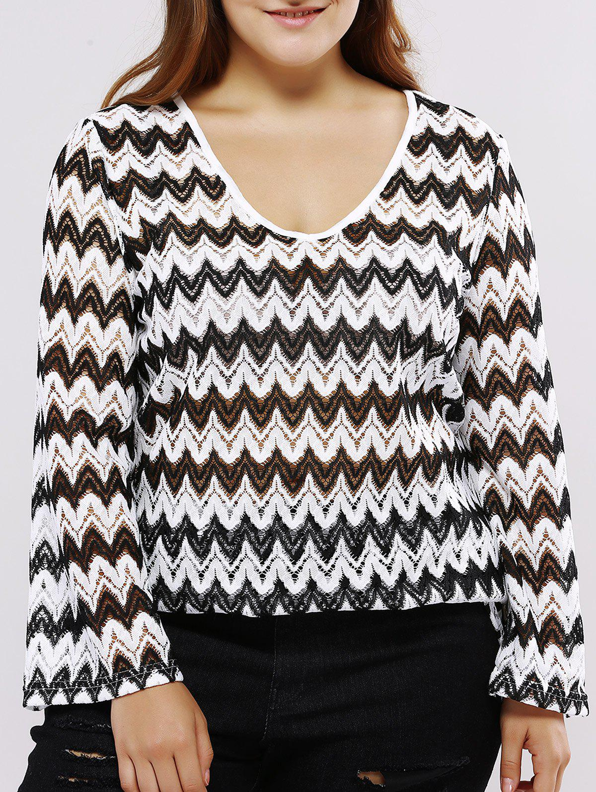 Oversized Casual Low Cut Chevron Pattern Blouse - WHITE/BLACK 5XL