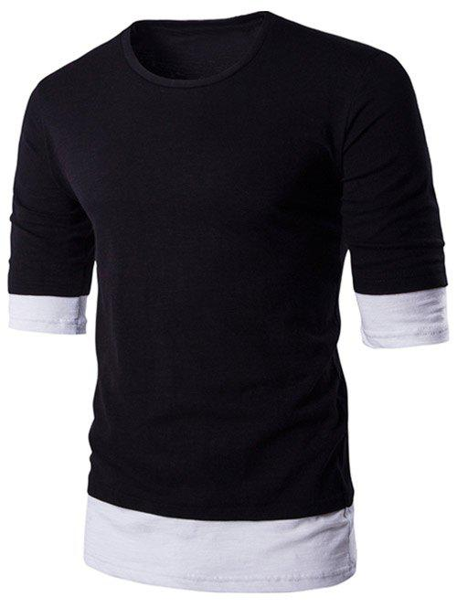 Brief Round Neck Color Block Half Sleeve T-Shirt For Men