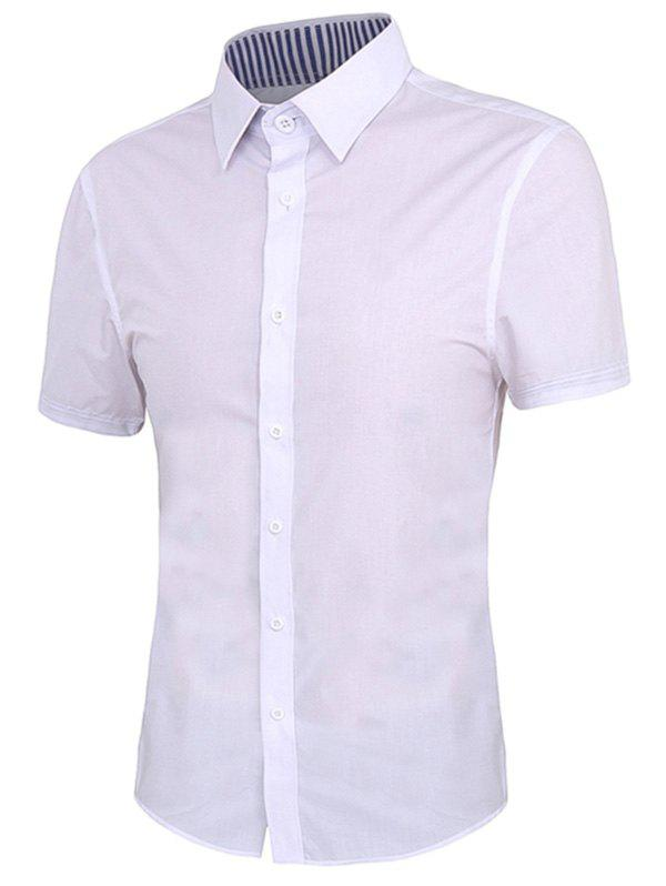 Men's Solid Color Turn-down Collar Short Sleeves Shirt - WHITE XL
