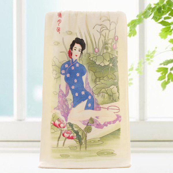 Fashionable Lotus and Ancient Beauty Pattern Change Color Towel - COLORMIX