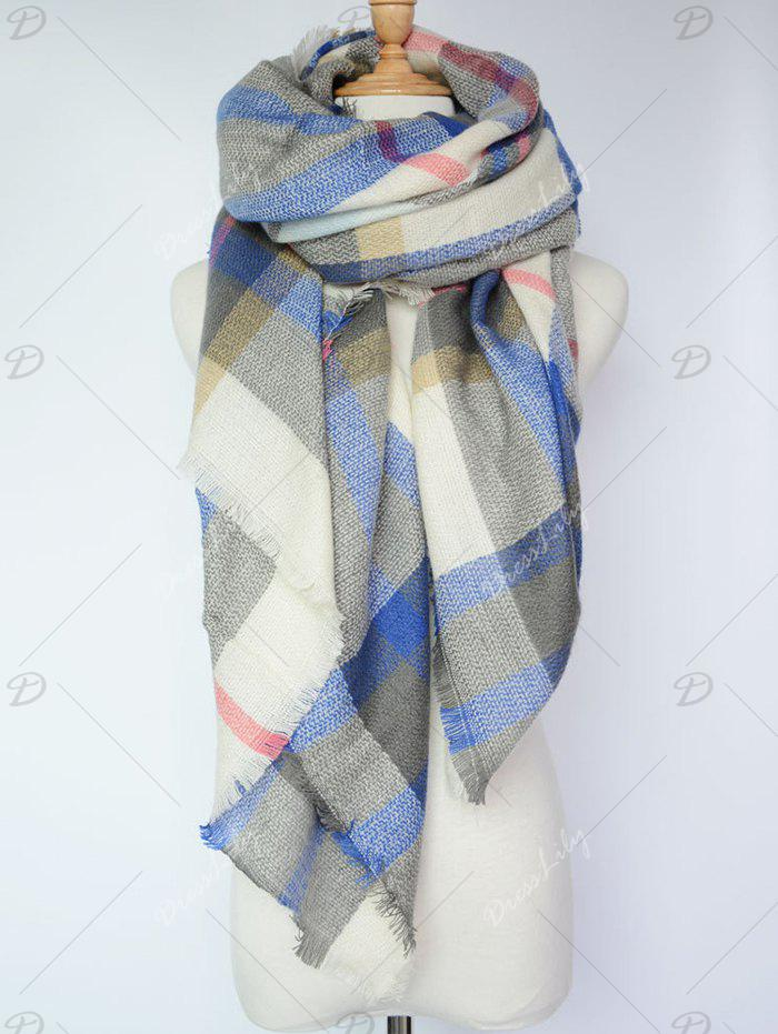 Stylish Tartan Pattern Large Square Shawl Scarf