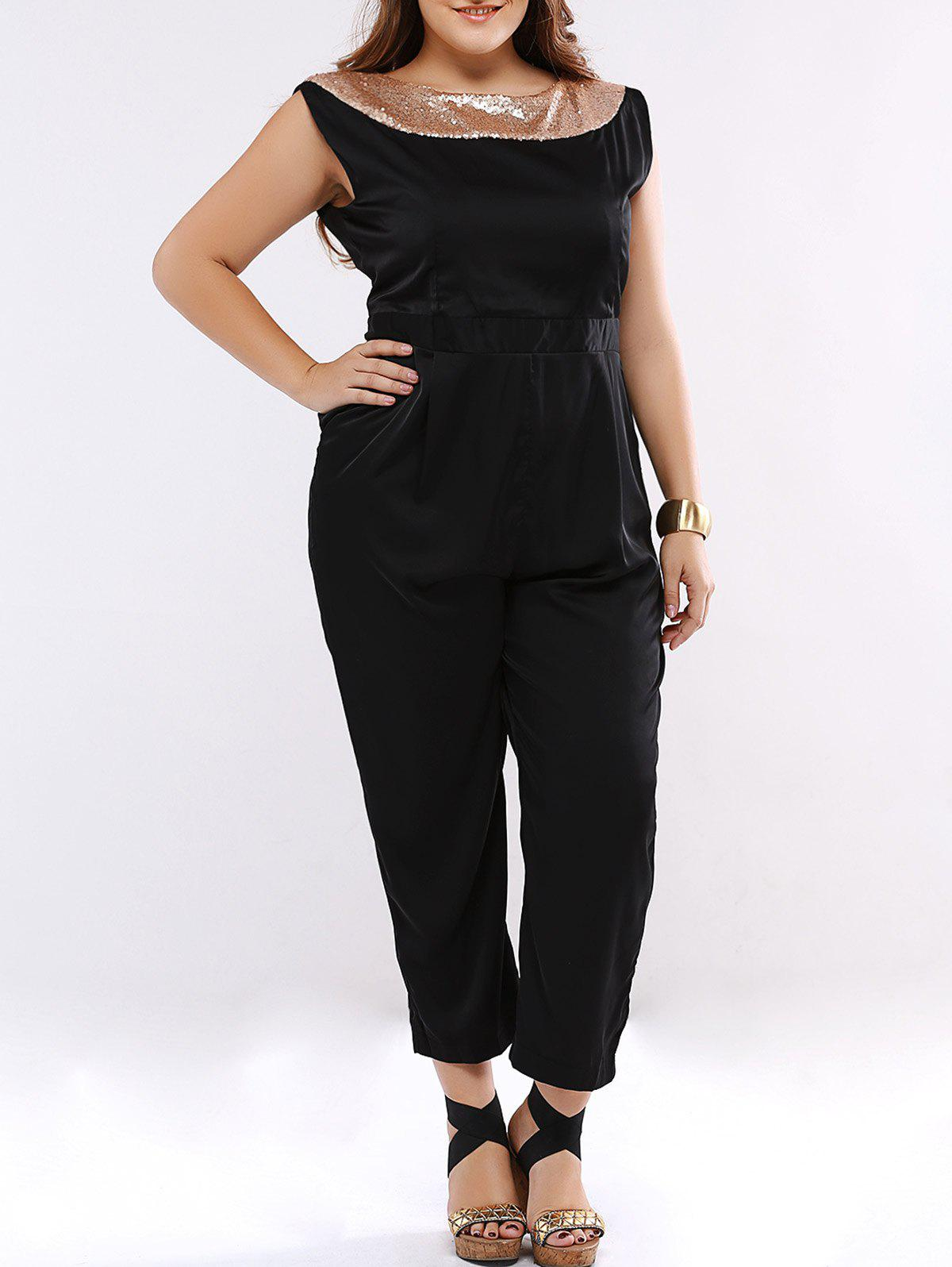 Plus Size Chic Sequined Embellished Jumpsuit