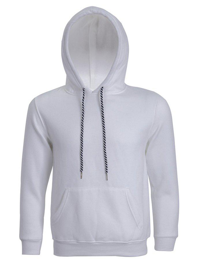 Hooded Long Sleeve Solid Color Men's Hoodie - WHITE 3XL