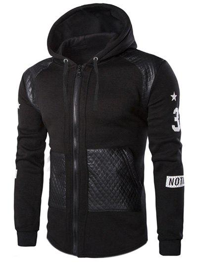 Casual Splicing Zipper Men's Hoodie - BLACK L