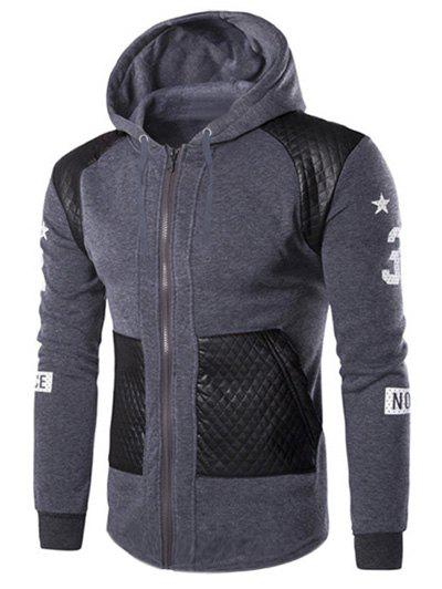 Casual Splicing Zipper Men's Hoodie - GRAY M