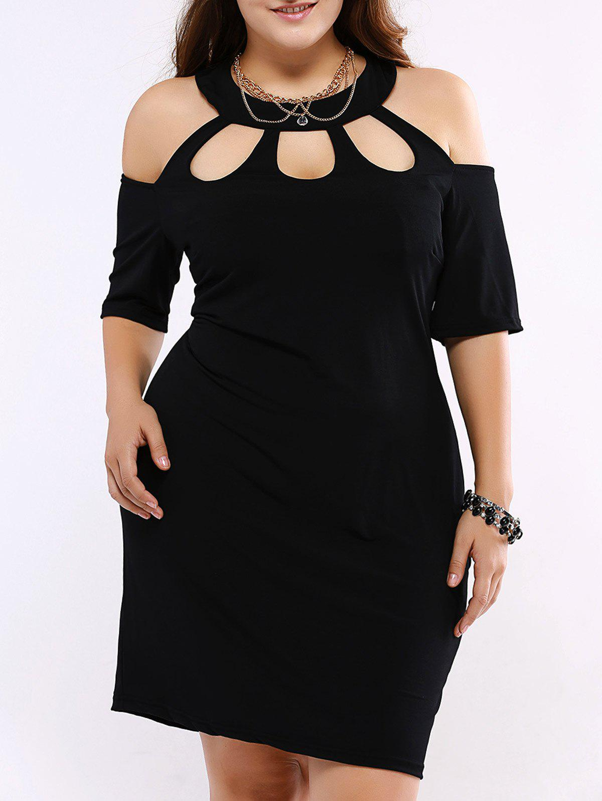 Plus Size Alluring Cut Out Black Dress - BLACK 5XL