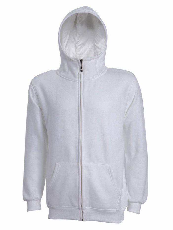 Hooded Long Sleeve Solid Color Zip-Up Men's Hoodie - WHITE 3XL