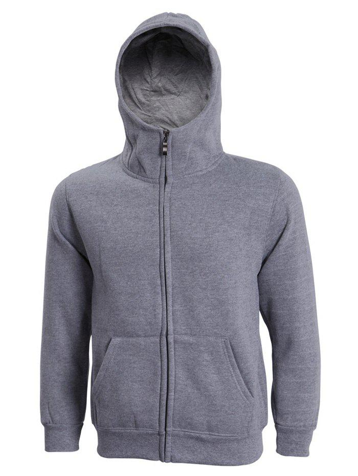Hooded Long Sleeve Solid Color Zip-Up Men's Hoodie - DEEP GRAY 3XL