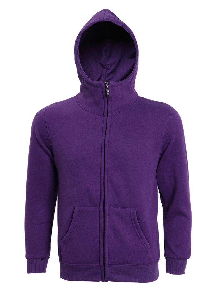 Hooded Long Sleeve Solid Color Zip-Up Men's Hoodie - PURPLE L