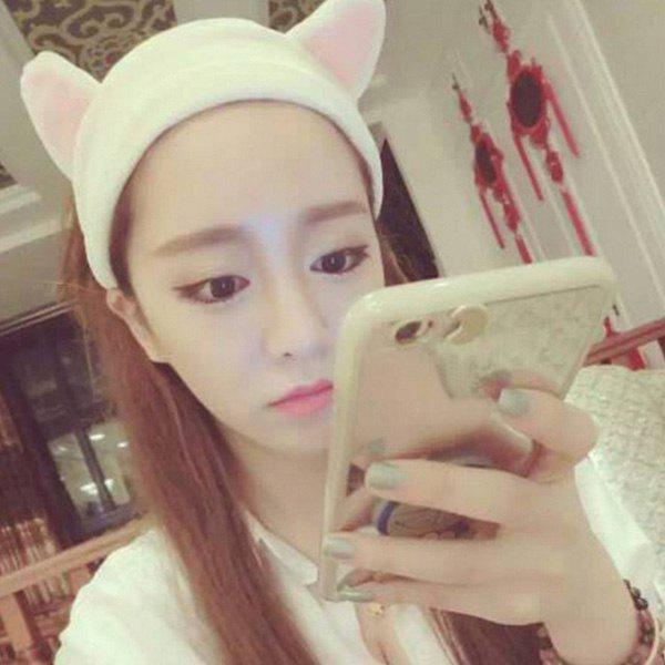 Fashion Cat Ears Design Make Up Wash Face Cosmetic Hair Band - WHITE