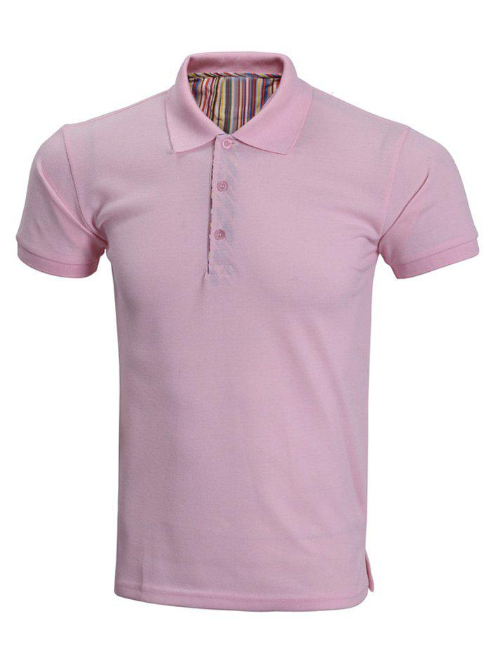 Solid Color Polo Collar Short Sleeve Men's T-Shirt - PINK 3XL