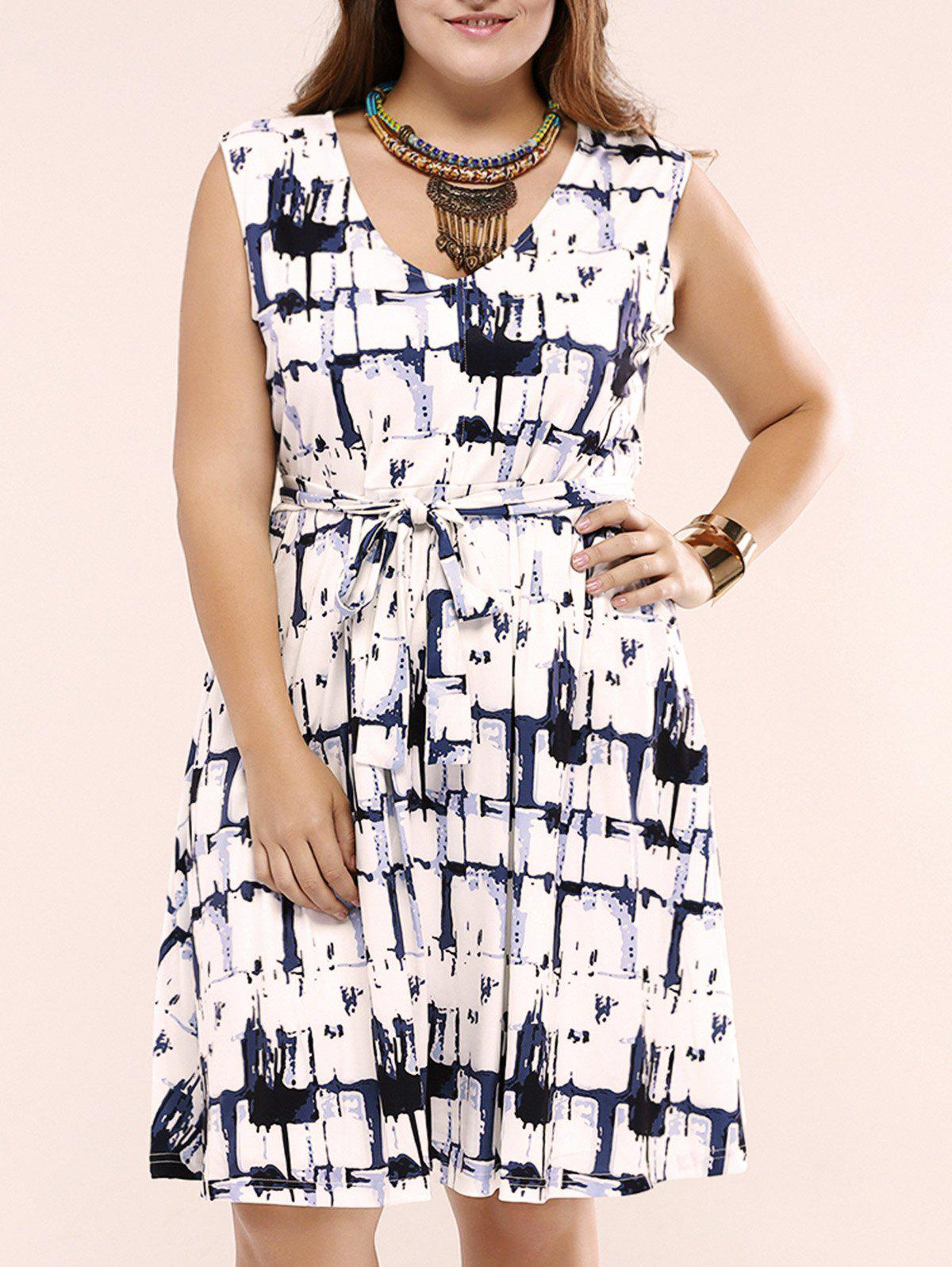 Oversized Chic Ink Painting Tie Front Dress