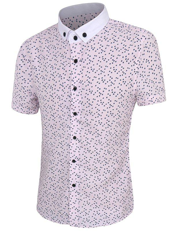 Full Star Print Men's Short Sleeves Button-Down Shirt - PINK 4XL