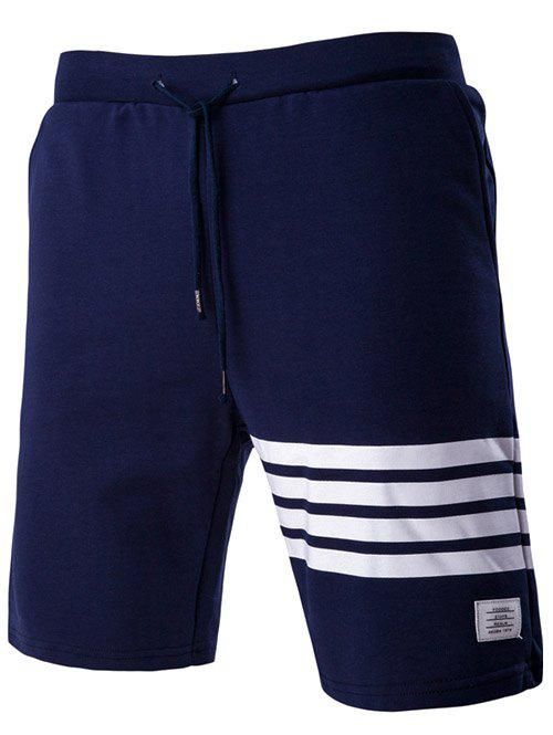Stripes Design Drawstring Waistband Casual Shorts For Men - PURPLISH BLUE 2XL