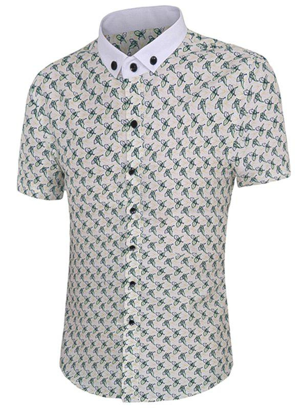 Leaves Print Men's Short Sleeves Button-Down Shirt - COLORMIX 3XL