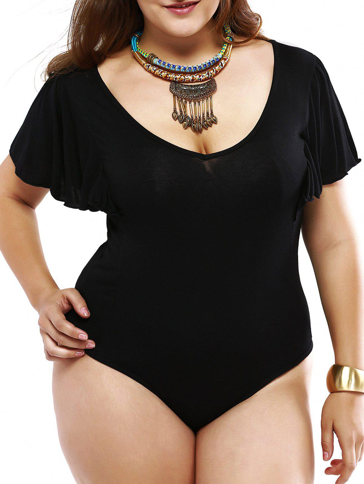 Plus Size Alluring Draped Sleeve Black Bodysuit - BLACK 5XL
