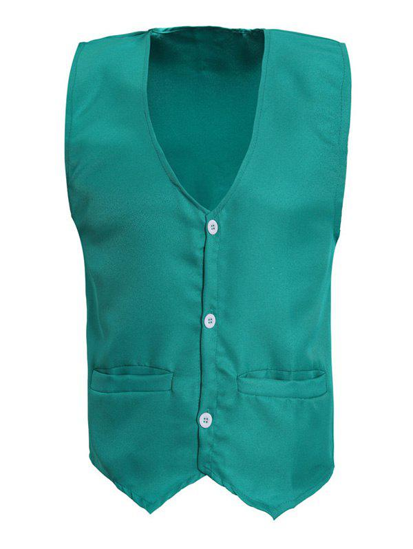 Solid Color V-Neck Serration Lower Hem Men's Waistcoat - GREEN 3XL