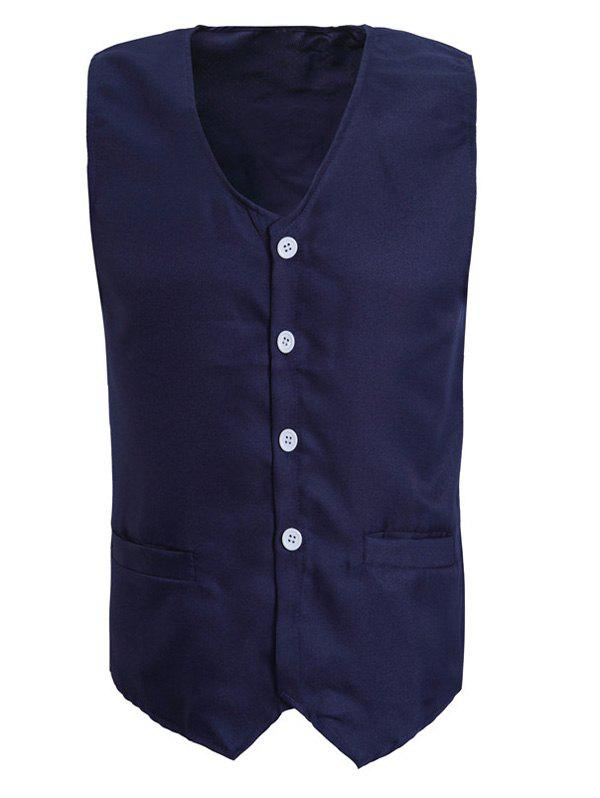 Solid Color V-Neck Serration Lower Hem Men's Waistcoat - CADETBLUE L