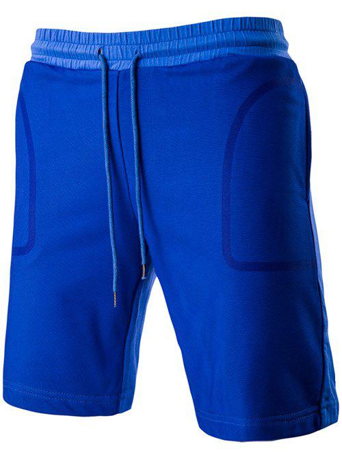 Chic Transparent Pocket Design Drawstring Waistband Shorts For Men - SAPPHIRE BLUE L