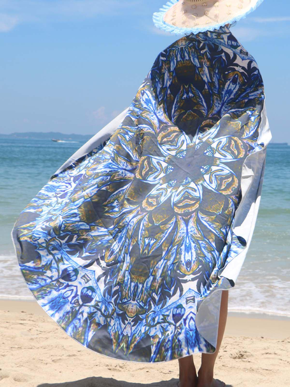 Floral Pattern Sarong Beach Throw - BLUE ONE SIZE(FIT SIZE XS TO M)