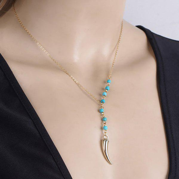 Vintage Faux Turquoise Bead Hot Pepper Pendant Necklace - GOLDEN