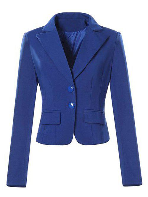 Single Breasted Lapel Neck Jacket Blazer - SAPPHIRE BLUE M