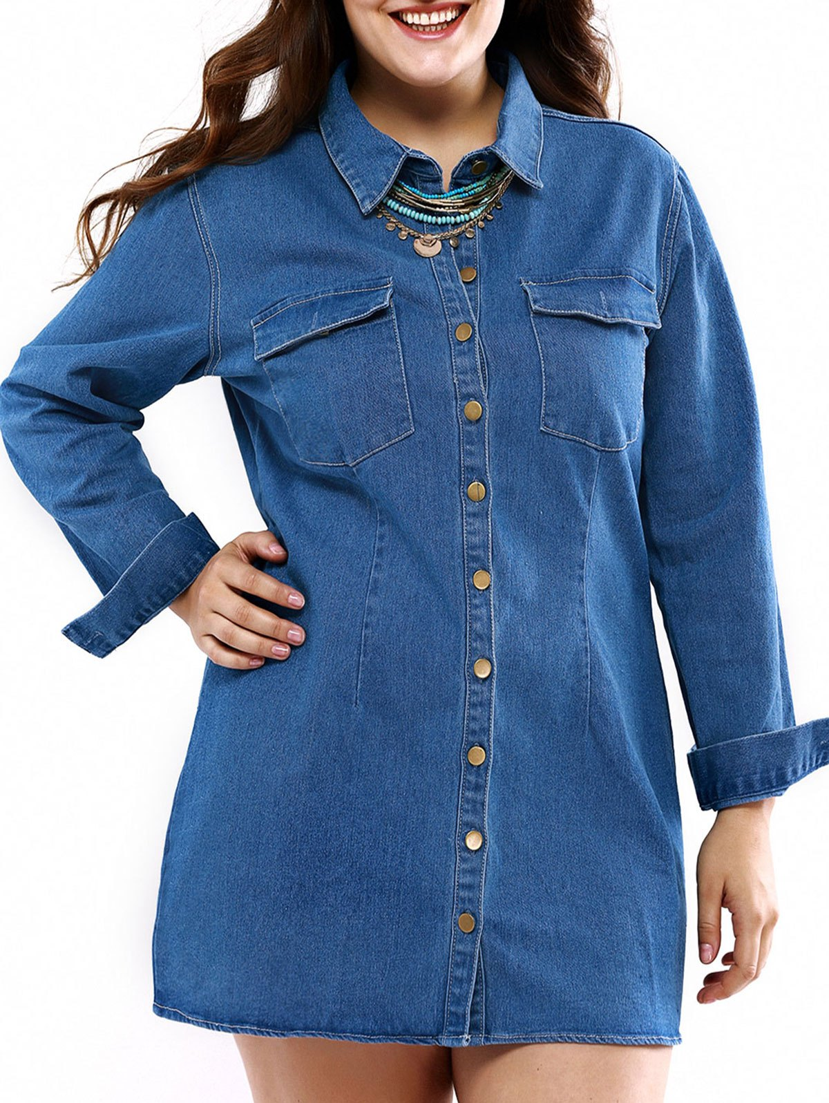 Plus Size Casual Mini Denim Shirt Dress