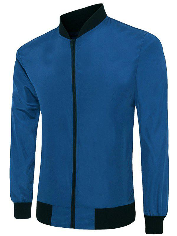 Color Block Stand Collar Long Sleeves Men's Sunproof Jacket - SAPPHIRE BLUE 3XL