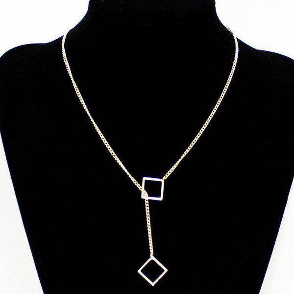 Hollowed Square Lariat Necklace - GOLDEN